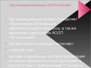 Организационный раздел АООП включает: Организационный раздел определяет общие