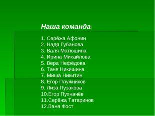 Наша команда: Серёжа Афонин Надя Губанова Валя Матюшина Ирина Михайлова Вера