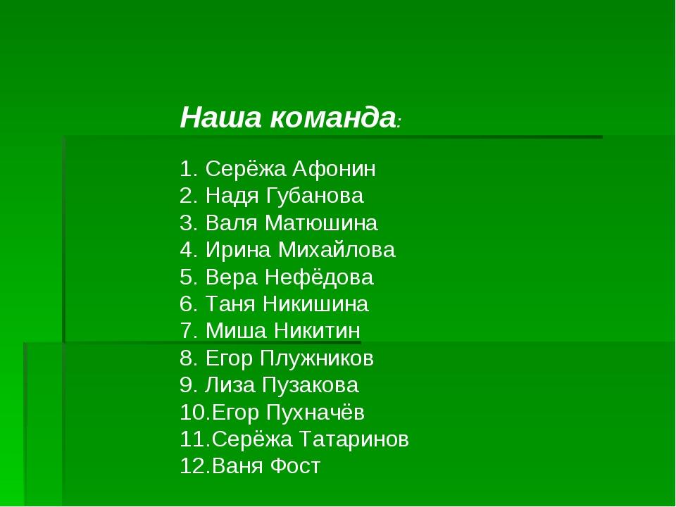 Наша команда: Серёжа Афонин Надя Губанова Валя Матюшина Ирина Михайлова Вера...
