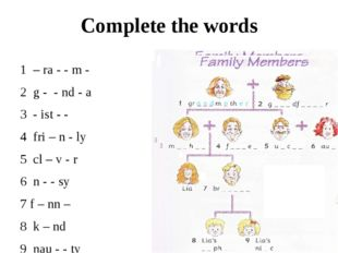 Complete the words 1 – ra - - m - 2 g - - nd - a 3 - ist - - 4 fri – n - ly 5