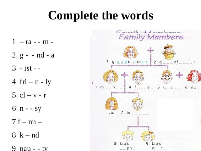 Complete the words 1 – ra - - m - 2 g - - nd - a 3 - ist - - 4 fri – n - ly 5...