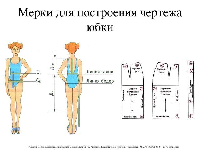 Мерки для построения чертежа юбки «Снятие мерок для построения чертежа юбки»....