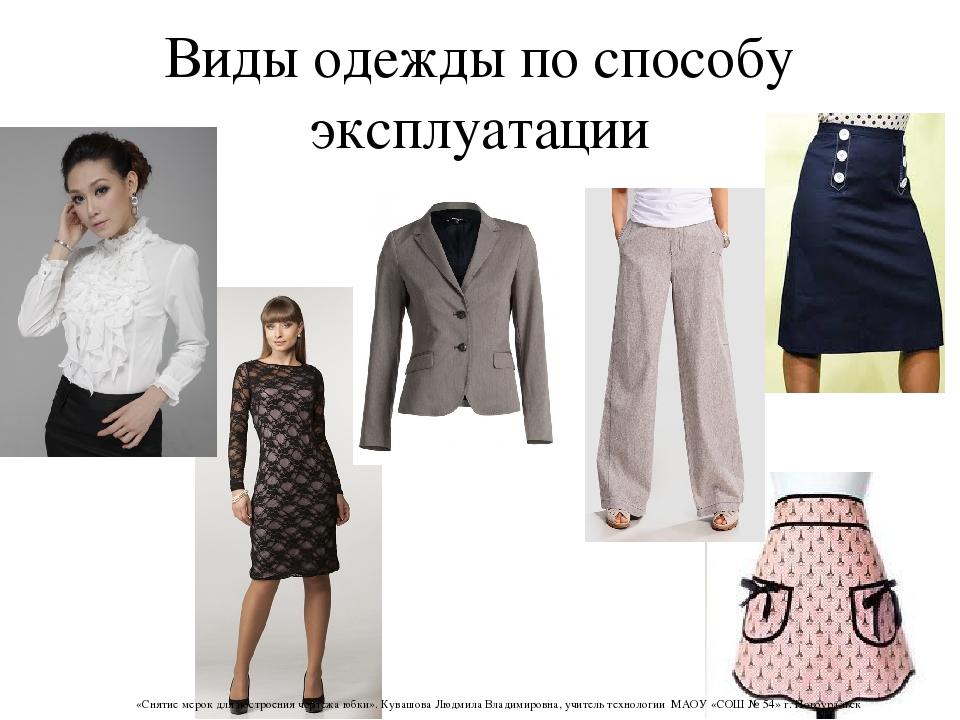 Виды одежды по способу эксплуатации «Снятие мерок для построения чертежа юбки...