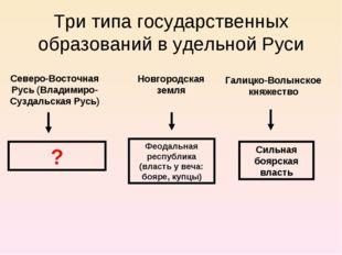 Три типа государственных образований в удельной Руси Новгородская земля Север
