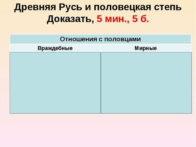 Древняя Русь и половецкая степь Доказать, 5 мин., 5 б. Отношения с половцами...