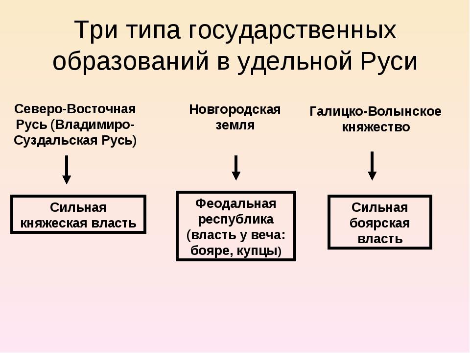 Три типа государственных образований в удельной Руси Новгородская земля Север...
