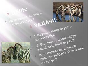 ЗАДАЧИ: ЦЕЛЬ: 1. Изучить литературу о жизни зебры. 2. Выяснить, зачем зебре