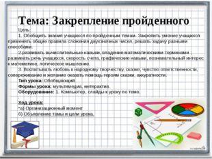 Тема: Закрепление пройденного Цель: 1. Обобщить знания учащихся по пройденны