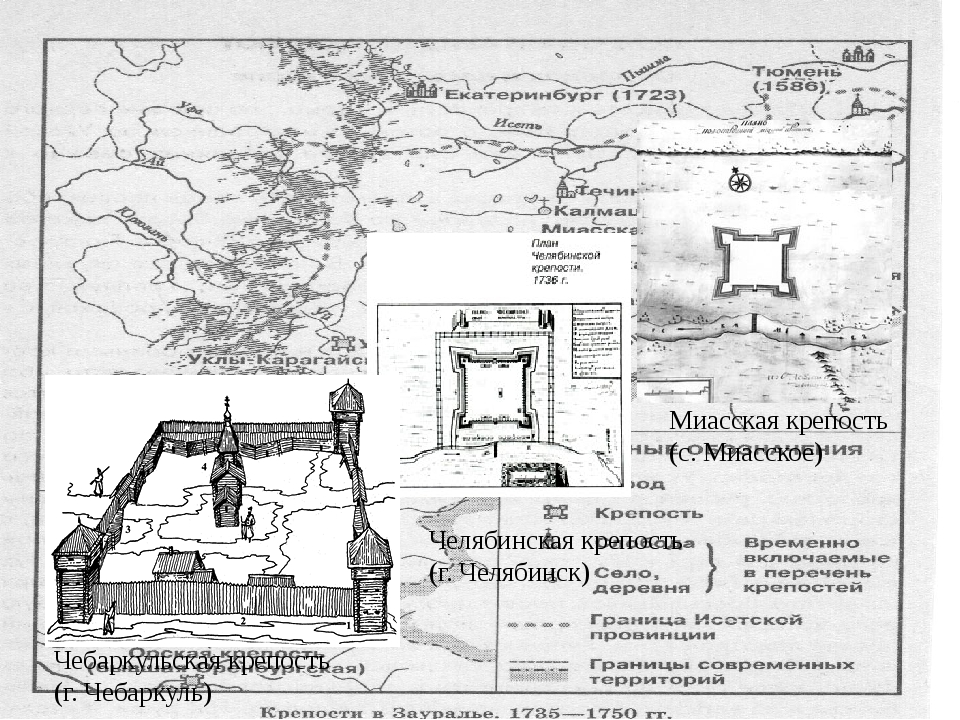 Строительство крепостей – на Урале, 1736 г. Миасская крепость (с. Миасское)...