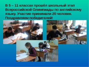 В 5 – 11 классах прошёл школьный этап Всероссийской Олимпиады по английскому