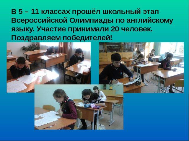 В 5 – 11 классах прошёл школьный этап Всероссийской Олимпиады по английскому...