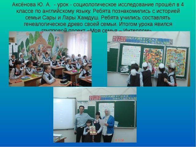 Аксёнова Ю. А. - урок - социологическое исследование прошёл в 4 классе по анг...