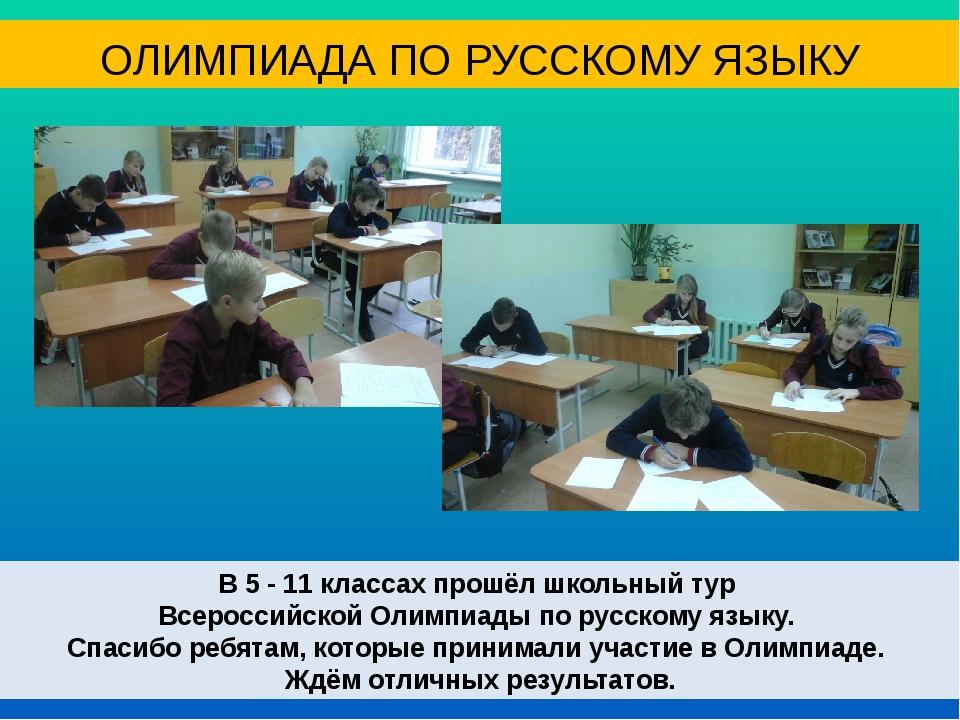 В 5 - 11 классах прошёл школьный тур Всероссийской Олимпиады по русскому язык...