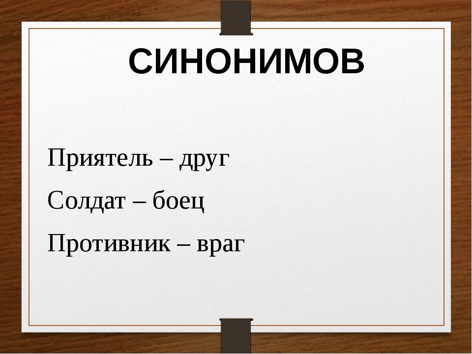 Приятель – друг Солдат – боец Противник – враг СИНОНИМОВ