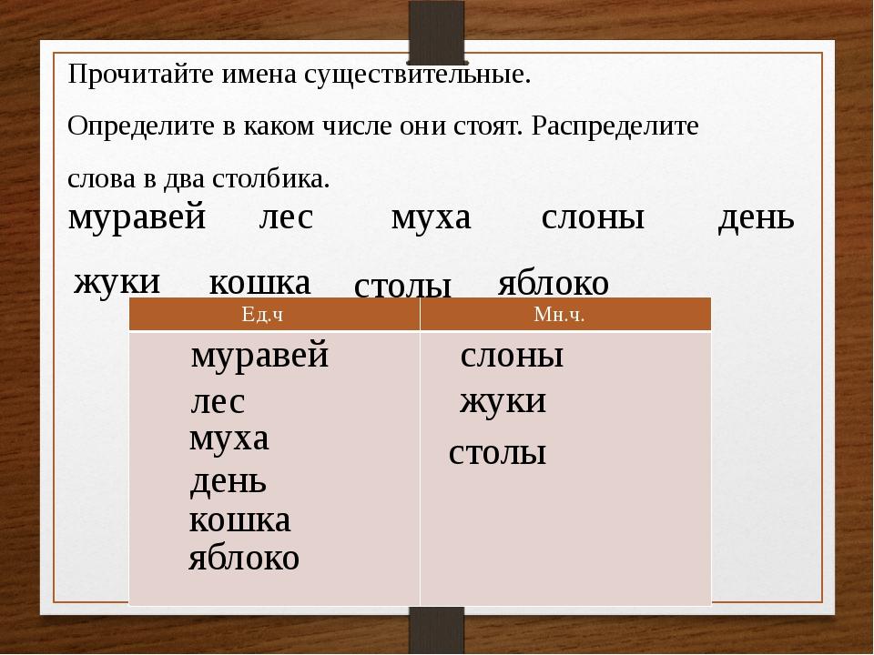 Прочитайте имена существительные. Определите в каком числе они стоят. Распред...