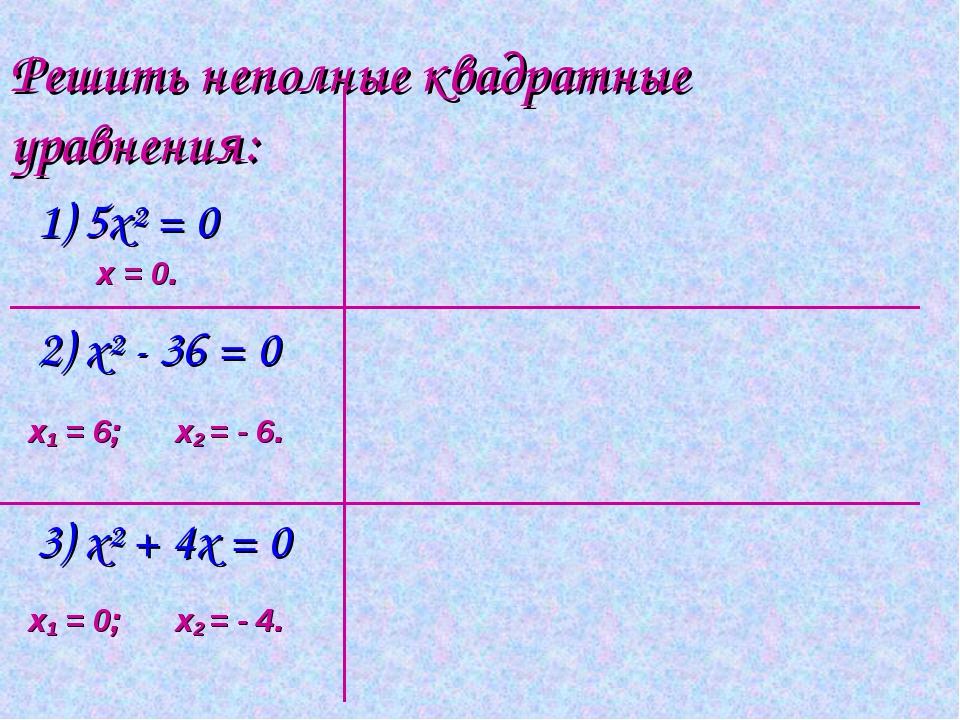 Решить неполные квадратные уравнения: 1) 5х² = 0 2) х² - 36 = 0 3) х² + 4x =...
