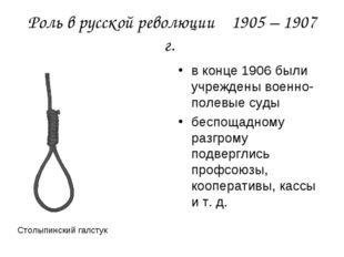Роль в русской революции 1905 – 1907 г. в конце 1906 были учреждены военно-по