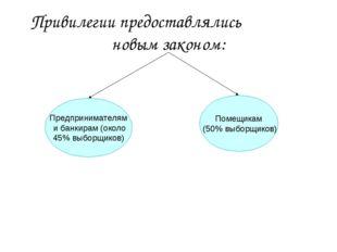 Привилегии предоставлялись новым законом: Предпринимателям ибанкирам (около