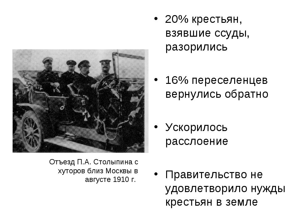 20% крестьян, взявшие ссуды, разорились 16% переселенцев вернулись обратно Ус...