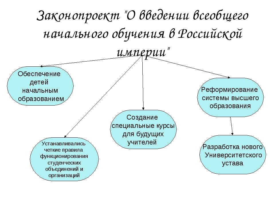 """Законопроект """"О введении всеобщего начального обучения в Российской империи""""..."""