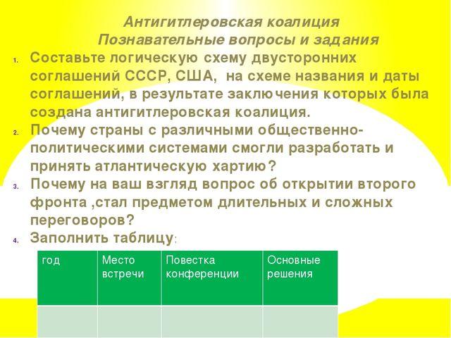 Антигитлеровская коалиция Познавательные вопросы и задания Составьте логичес...