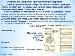 Возможные дефекты при сверлении отверстий: 1. Диаметр просверленного отверст