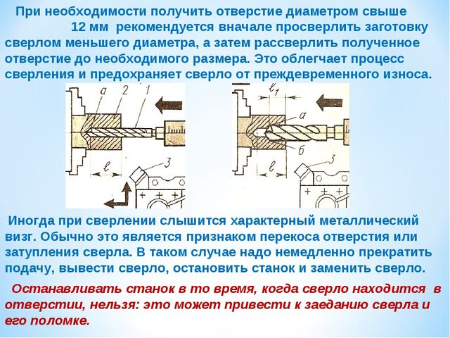 При необходимости получить отверстие диаметром свыше 12 мм рекомендуется вна...