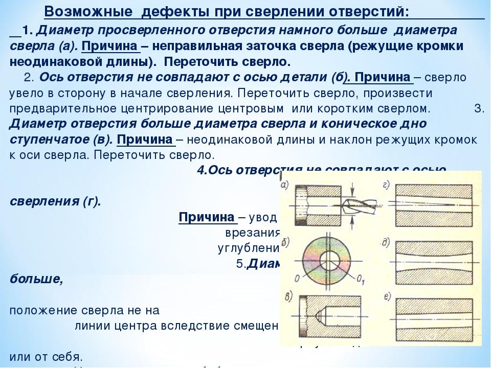 Возможные дефекты при сверлении отверстий: 1. Диаметр просверленного отверст...