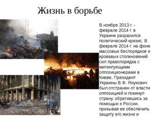Жизнь в борьбе В ноябре 2013 г. - феврале 2014 г. в Украине разразился полит