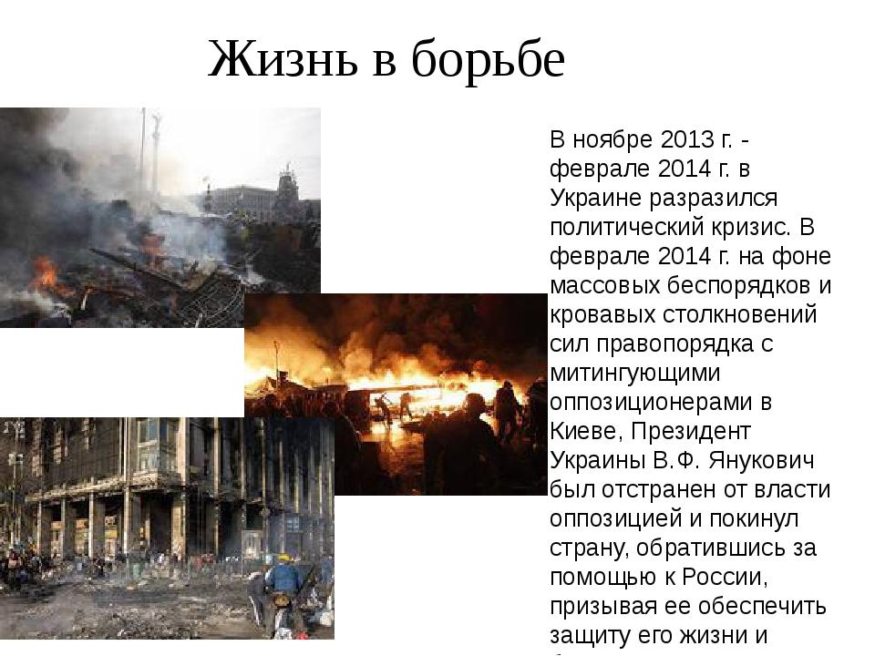 Жизнь в борьбе В ноябре 2013 г. - феврале 2014 г. в Украине разразился полит...