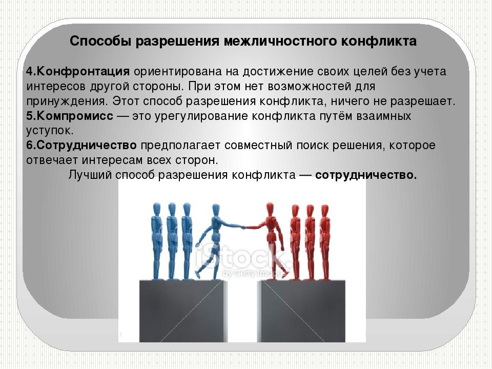 Способы разрешения межличностного конфликта 4.Конфронтация ориентирована на д...