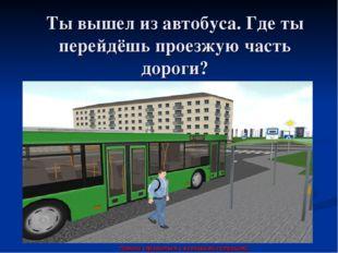 Ты вышел из автобуса. Где ты перейдёшь проезжую часть дороги? Помоги справить