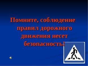 Помните, соблюдение правил дорожного движения несет безопасность!