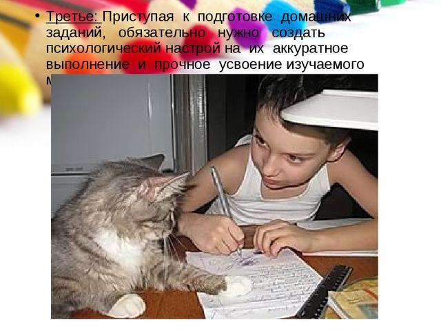 Третье: Приступая к подготовке домашних заданий, обязательно нужно создать пс...
