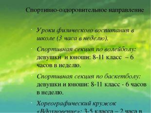 Спортивно-оздоровительное направление Уроки физического воспитания в школе (3