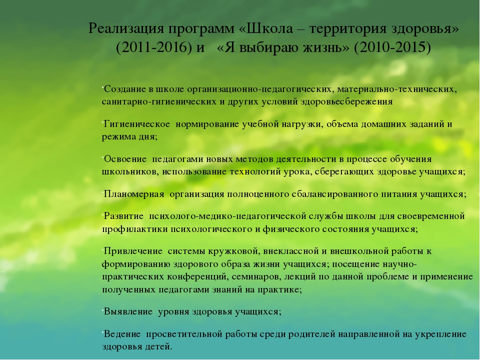 Реализация программ «Школа – территория здоровья» (2011-2016) и «Я выбираю жи...
