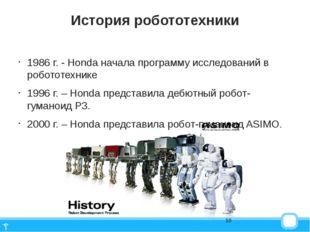 История робототехники 1986 г. - Honda начала программу исследований в роботот