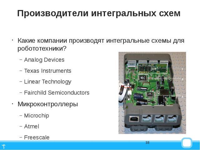 Производители интегральных схем Какие компании производят интегральные схемы...