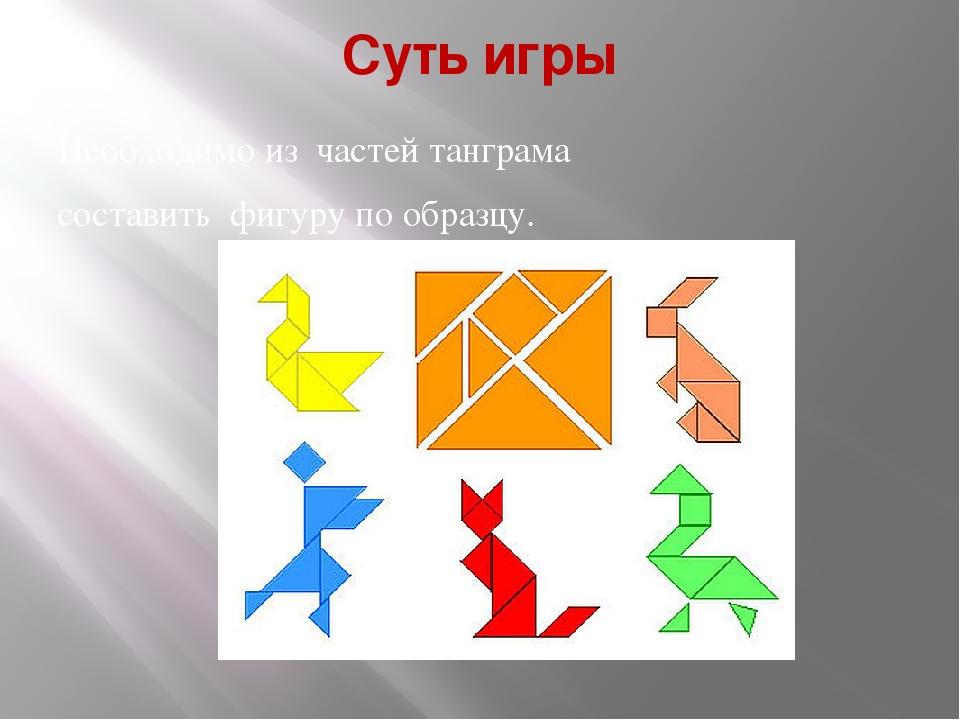Суть игры Необходимо из частей танграма составить фигуру по образцу.