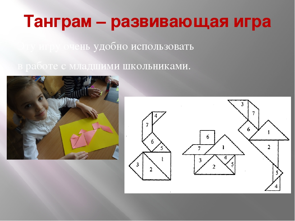 Танграм – развивающая игра Эту игру очень удобно использовать в работе с млад...