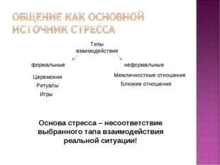 Типы взаимодействия формальные неформальные Церемонии Ритуалы Игры Межличност