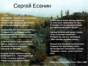 Сергей Есенин * * * Да! Теперь - решено. Без возврата Я покинул родные края.