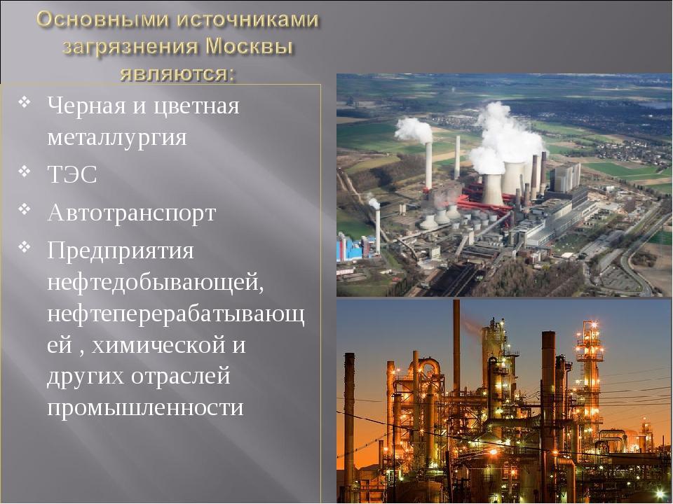 Черная и цветная металлургия ТЭС Автотранспорт Предприятия нефтедобывающей, н...