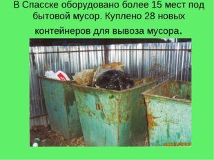 В Спасске оборудовано более 15 мест под бытовой мусор. Куплено 28 новых конте