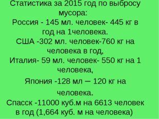 Статистика за 2015 год по выбросу мусора: Россия - 145 мл. человек- 445 кг в