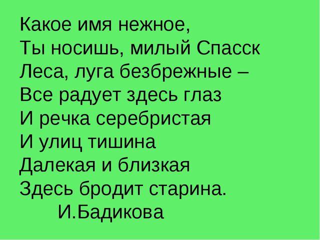 Какое имя нежное, Ты носишь, милый Спасск Леса, луга безбрежные – Все радует...