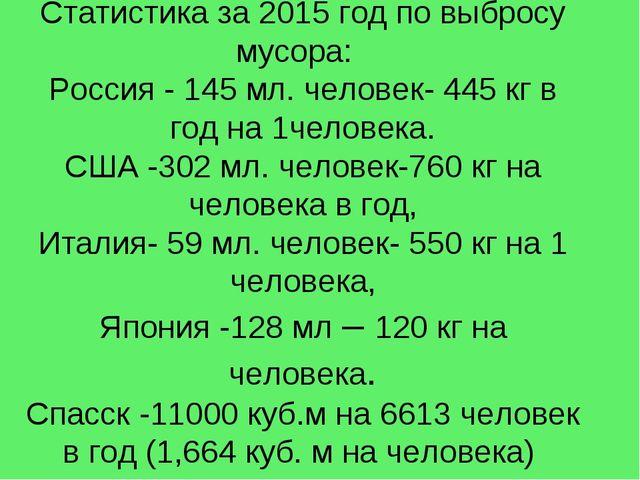 Статистика за 2015 год по выбросу мусора: Россия - 145 мл. человек- 445 кг в...