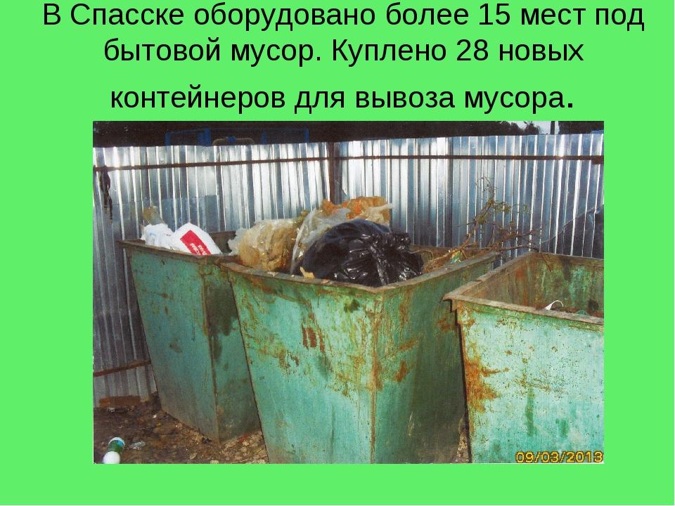 В Спасске оборудовано более 15 мест под бытовой мусор. Куплено 28 новых конте...