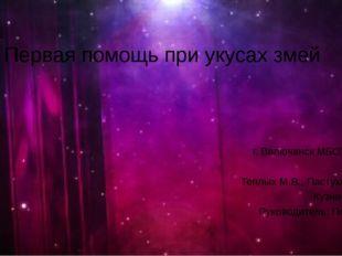 Первая помощь при укусах змей г. Вилючинск МБОУ СШ №2 10 класс Теплых М.В., П
