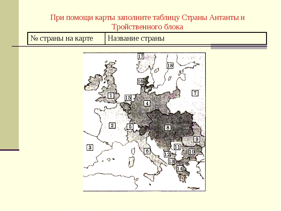 При помощи карты заполните таблицу Страны Антанты и Тройственного блока № стр...